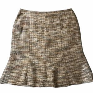 Dalia 14 tweed woven bell shape skirt peach rust